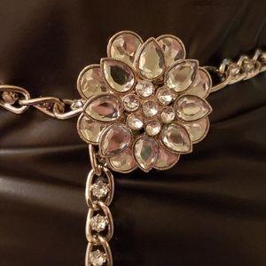 Vintage silver & pronged rhinestones belt